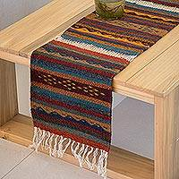 Wool table runner, 'Zapotec Lands' - Authentic Zapotec Handcrafted Wool Earthtone Table Runner