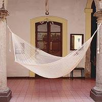 Cotton hammock, 'Natural Comfort' (single) - Handwoven Fair Trade Maya Hammock