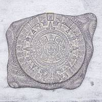 Ceramic wall plaque, 'Aztec Sun Stone' - Hand Made Collectible Archaeological Ceramic Calendar