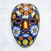 Beadwork mask, 'Peyote Blossom' - Huichol Papier Mache Mask Covered with Beads