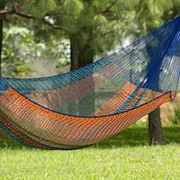 Cotton hammock, 'Colors of Mexico' (double) - King-Sized Handcrafted Colorful Hammock from Mexico
