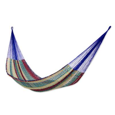 Cotton hammock, 'Colors of Mexico' (double) - Cotton Striped Rope Hammock (Double)