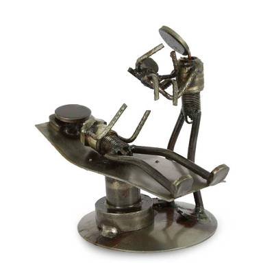 Iron statuette, 'Baby is Born' - Hand Crafted Recycled Auto Parts and Metal Sculpture