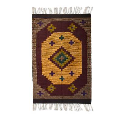 Zapotec wool rug, 'Stargazer' (2x3) - Artisan Crafted Zapotec Rug (2x3)