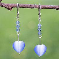 Sterling silver heart earrings, 'Heavenly Hearts' - Sterling silver heart earrings