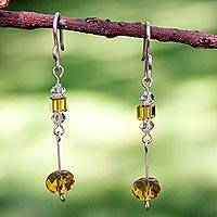 Sterling silver drop earrings, 'Golden Light' - Sterling silver drop earrings