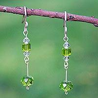Sterling silver dangle earrings, 'Lime Light' - Sterling silver dangle earrings