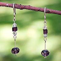 Sterling silver dangle earrings, 'Grape Light' - Sterling silver dangle earrings