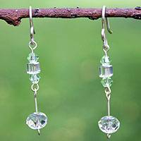 Sterling silver dangle earrings, 'Light' - Sterling silver dangle earrings
