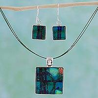 Dichroic art glass jewelry set, 'Groovy Ice Cubes' - Dichroic art glass jewelry set
