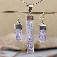 Dichroic art glass jewelry set, 'Magical' - Artisan-Crafted Mexican Glass Pendant Set