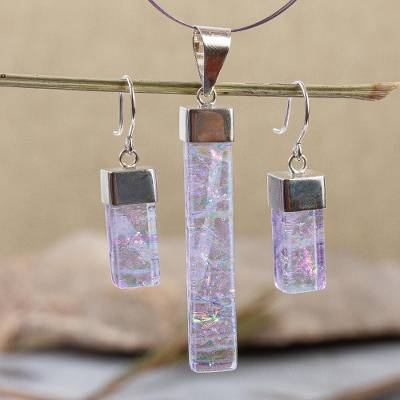 Dichroic art glass jewelry set, 'Magical' - Handcrafted Modern Glass Pendant jewellery Set