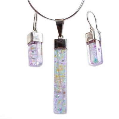 Dichroic art glass jewelry set, 'Magical' - Handcrafted Modern Glass Pendant Jewelry Set