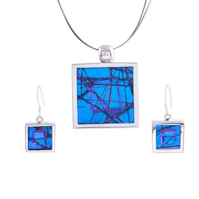 Dichroic art glass jewelry set, 'Ocean Window' - Dichroic art glass jewelry set