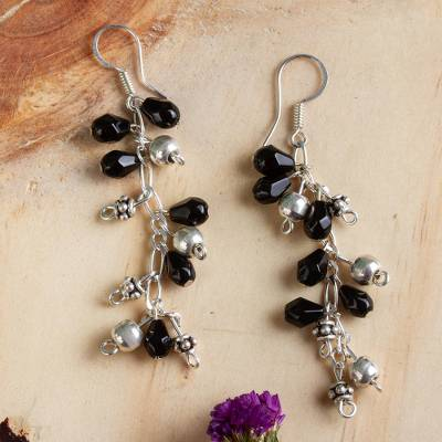 Sterling silver dangle earrings, 'Night Dancer' - Sterling silver dangle earrings