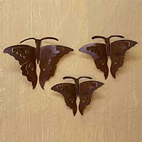 Iron wall adornments, 'Monarch Butterflies' (set of 3) - Handmade Steel Wall Sculptures Mexico (Set of 3)