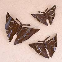 Iron wall adornments, 'Aztec Butterflies' (set of 3) - Handmade Modern Steel Wall Sculptures Mexico (Set of 3)
