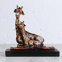 Sculpture, 'Giraffe Maternal Love' - Sculpture