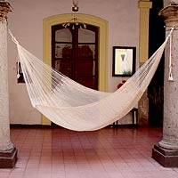 Cotton hammock, 'Natural Comfort' (double)