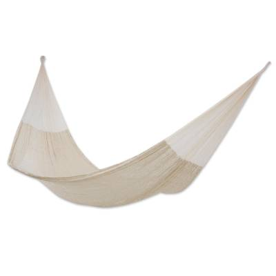 Cotton hammock, 'Natural Comfort' (double) - Handcrafted Cotton Solid Rope Hammock (Double)