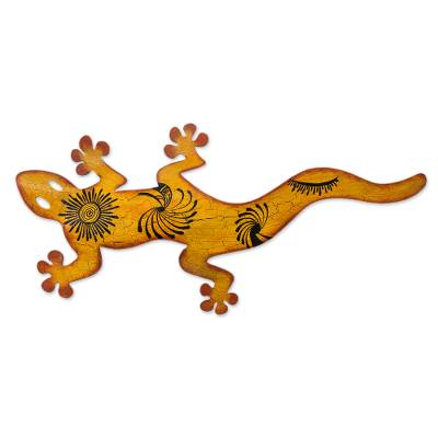 Iron wall adornment, 'Cave Art Gecko' - Unique Steel Orange Lizard Wall Art