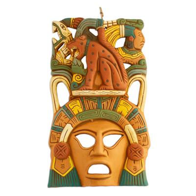 Ceramic mask, 'Maya Lord Jaguar' - Hand Made Mexican Ceramic Wild Cat Mask