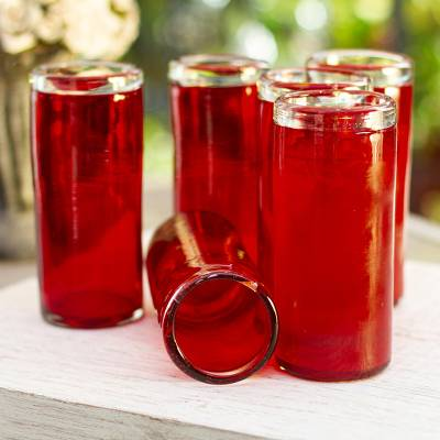 Blown glass drinking glasses, 'Ruby' (set of 6) - Red Hand Blown Mexican Tequila Shot Glasses Set of 6