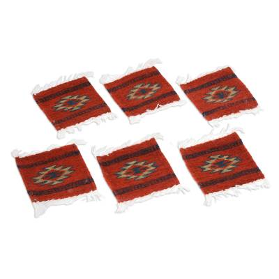 Zapotec coasters, 'Aztec Sun' (set of 6) - Zapotec coasters (Set of 6)