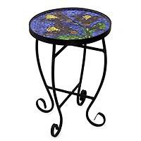 Stained glass table, 'Tulip Temptation' - Stained glass table