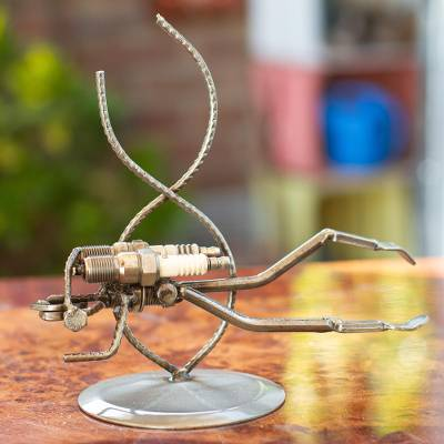 Iron statuette, 'Rustic Scuba Diver' - Handcrafted Eco Friendly Recycled Metal Sculpture