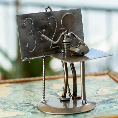 Iron statuette, 'Rustic Professor' - Collectible Recycled Car Parts and Metal Sculpture Rustic