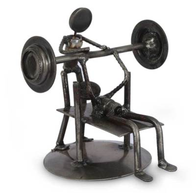 Iron statuette, 'Rustic Weightlifter' - Handcrafted Athlete Recycled Metal Sculpture Mexico