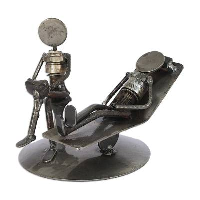 Iron statuette, 'Rustic Psychotherapist' - Unique Recycled Metal Eco Sculpture from Mexico