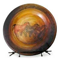 Ceramic plate, 'Prehistoric Horses' - Collectible Ceramic Horse Decorative Plate