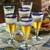 Beer glasses, 'Bohemia' (set of 6) - Artisan Crafted Recycled Handblown Blue Rim Beer Glasses thumbail