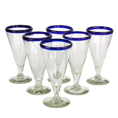 Beer glasses, 'Bohemia' (set of 6) - Artisan Crafted Recycled Handblown Blue Rim Beer Glasses