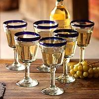 Wine glasses, 'Chardonnay' (set of 6)