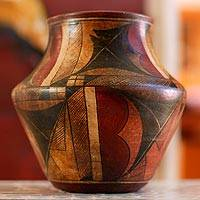 Ceramic vase, 'Our Legacy' - Hand Made Ancient Mexican Archaeological Ceramic Vessel Vase