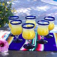 Water glasses, 'Spring' (set of 6) - Handblown Recycled Glass Goblets Set of 6