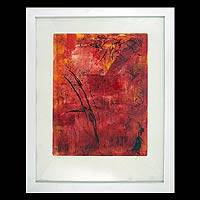 'Roots' - Red Framed Monotype Print Mexico Fine Art