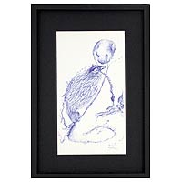 'Winged Eye' - Mexico Art Framed Bird Ink Drawing on Paper