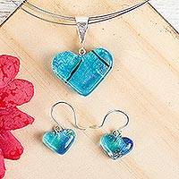 Dichroic art glass jewelry set, 'Caribbean Heart' - Mexican Heart Shaped Glass Pendant and Earrings Jewelry Set