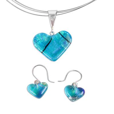 Mexican Heart Shaped Glass Pendant and Earrings Jewelry Set