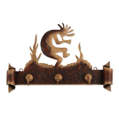 Iron coat rack, 'Kokopelli Serenade' - Hand Made Cultural Steel Coat and Key Holder