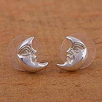 Sterling silver button earrings, 'Crescent Moon' - Sterling silver button earrings