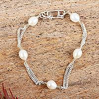 Cultured pearl link bracelet, 'Symphony' - Handcrafted Sterling Silver Link Pearl Bracelet from Mexico