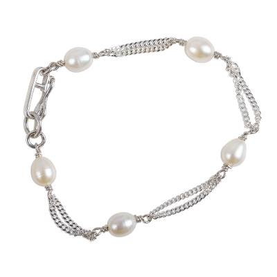 Handcrafted Sterling Silver Link Pearl Bracelet from Mexico