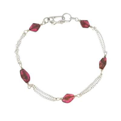 Unique Red Geometric Garnet Sterling Silver Delicate Link Bracelet