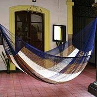 Hammock, 'Atlantis' (double) - Hand Made Striped Mayan Hammock (Double)