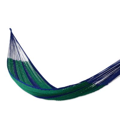 Hammock, 'Island Siesta' (double) - Unique Striped Rope Hammock (Double)